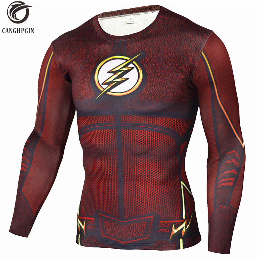 Anime The Flash 3D Printed T Shirts Running Long Sleeve Sport Shirt Men Quick Dry Fitness Jerseys Top Mens Rashgard MMA Tights ...