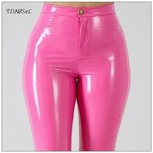 Mais tamanho grande couro do falso do plutônio leggings grandes calças magros brilhantes calças femininas cintura alta líquido látex pvc patente lápis calças
