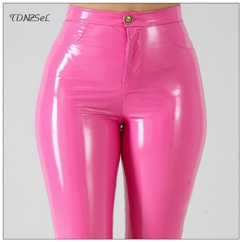 Plus Big Size PU Faux Leather Leggings Large Shiny Skinny Pants Slacks Women High Waist Liquid PVC Latex Patent Pencil Trousers