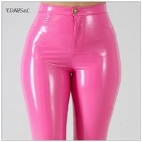Plus Big Size PU Faux Leather Leggings Large Shiny Skinny Pants Slacks Women High Waist Liquid PVC Latex Patent Pencil Trousers