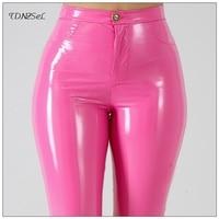 Plus Big Size PU Faux Leather Leggings Shiny Skinny Pants Slacks For Women High Waist Liquid PVC Latex Patent Pencil Trousers