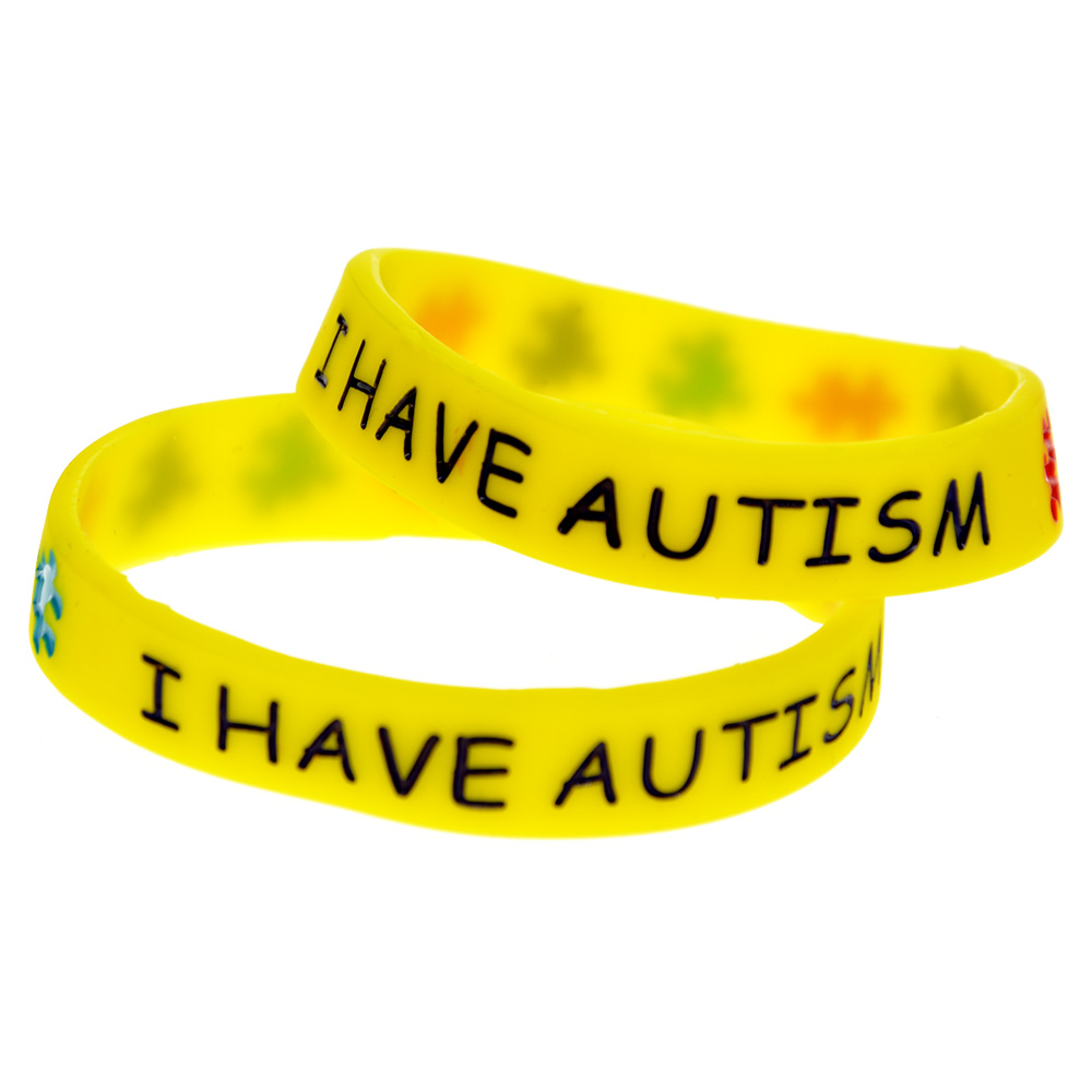 Onebandahouse 50pcs Lot Multicolors Puzzle Silicone Wristband In Kids I Have Autism Bracelet Id Bracelets From Jewelry Accessories On Aliexpress