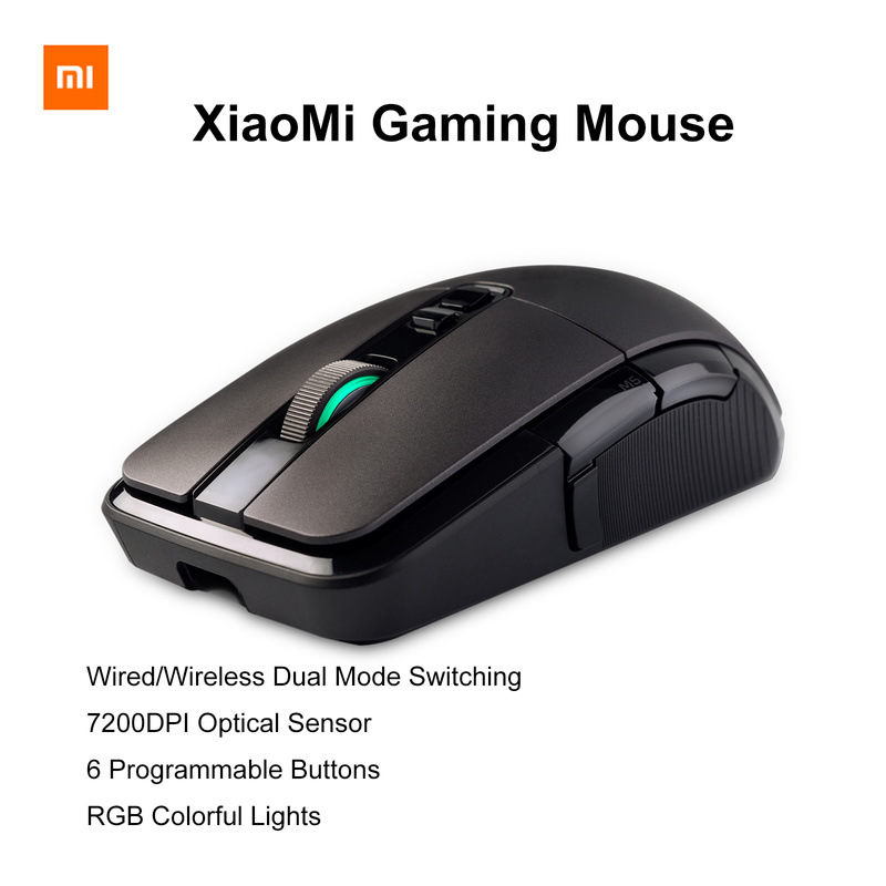 xiaommi gaming mouse Wired Wireless Dual Mode 7200DPI 6 Programmable Buttons Colorful Lights 150 IPS 32