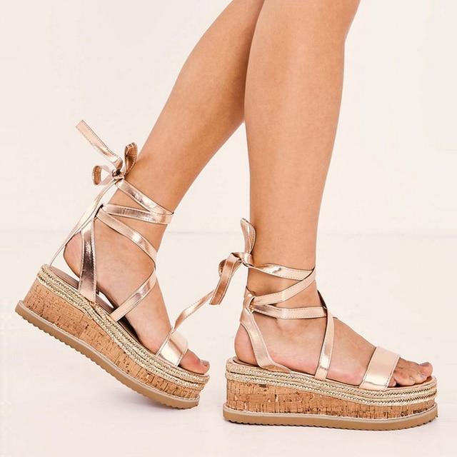 01b3bd29fc76 HZXINLIVE 2018 New Summer Women Platform Sandals Vacation Espadrilles Wedge Sandals  Women Lace up Gladiator Sandals Summer Shoes