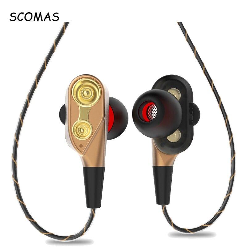 SCOMAS HIFI In-Ear Double Unité Lecteur 3.5mm Filaire Écouteurs Écouteurs Basse Subwoofer de Course Casque avec Micro pour Téléphone Mobile