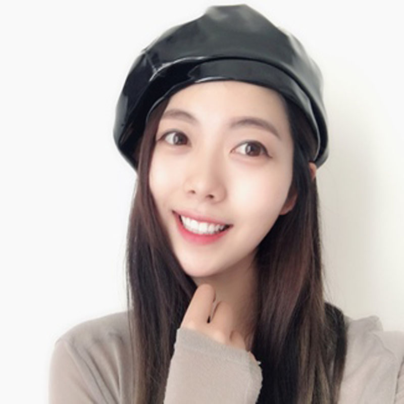 58991e0d4f47a 2019 Fashion Pu Patent Leather Beret Hat For Women Photography Retro ...