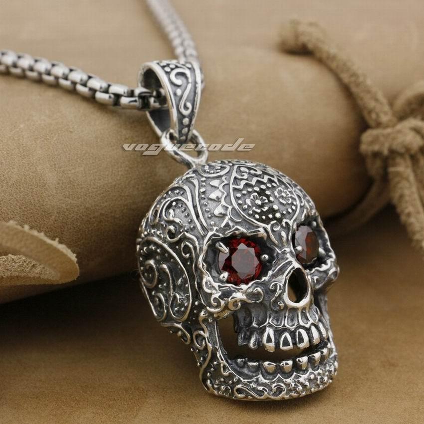 LINSION Huge Heavy Red CZ Eyes Skull Pendant 925 Sterling Silver Mens Biker Rock Punk Style 9E007