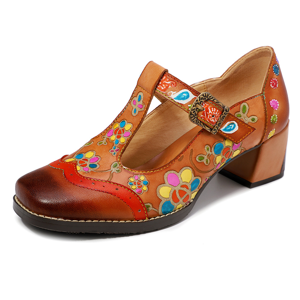 Johnature 2019 New Summer Genuine Leather Buckle Strap Casual Retro Hand painted Sewing Mary Janes Flower