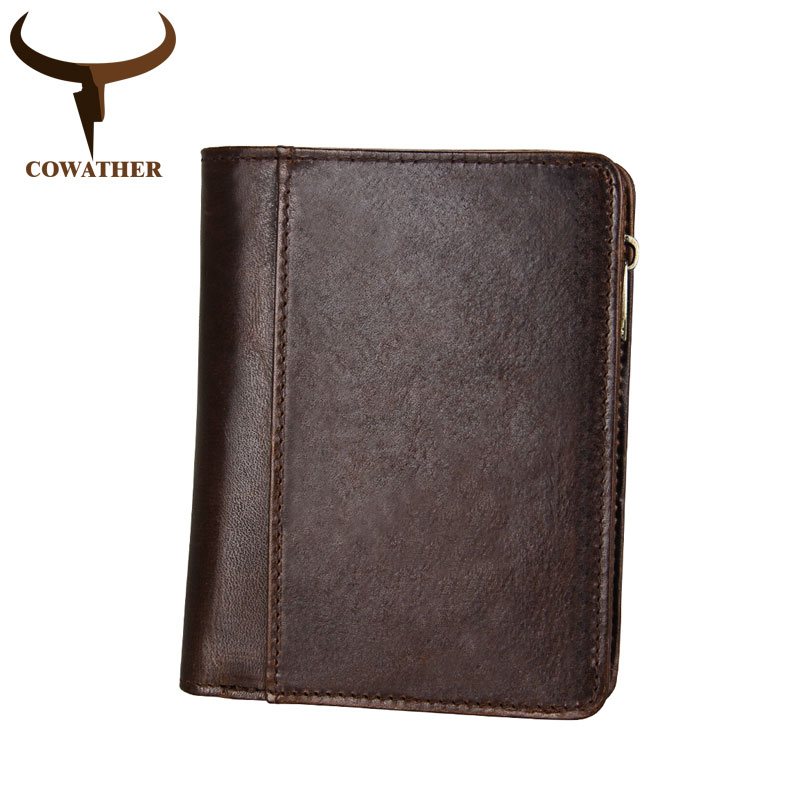 COWATHER 100% top layer cow leather male purse short style new arrival 2018 genuine leather men wallets C8231 free shipping free shipping dhl brand new cow leather clothing man s 100% genuine leather jackets classics men s slim japan style jacket