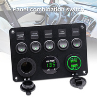 1 Pcs 5 Gang Switch Panel Charger Control with Voltage Display Durable for Car NJ88