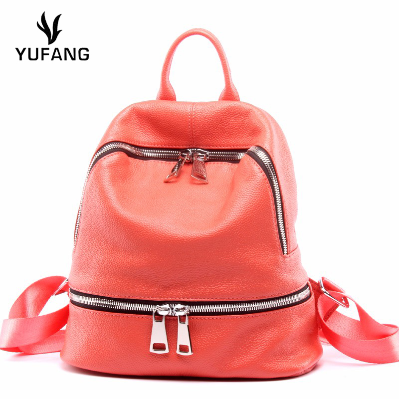 Yufang Women Backpack Genuine Leather Female Shoulder Bag Real Cowskin Teenager Girl School Bag Fashion Brand Travel Bag Ladies