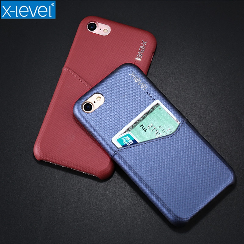 X Level Luxury Business Card Case for Apple iPhone 7 8 Hard PC Back ...