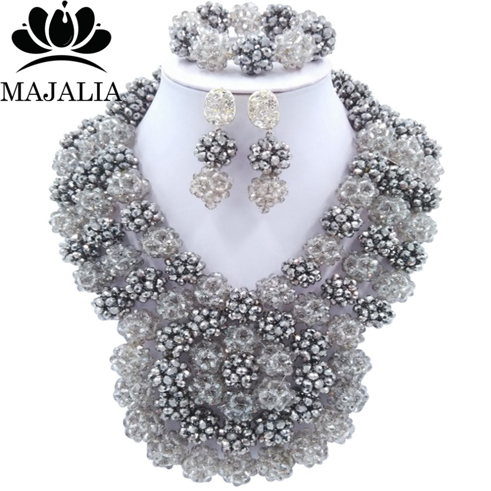 Trendy Nigeria Wedding Silver african beads jewelry set Crystal necklace bracelet earrings Free shipping Majalia-149