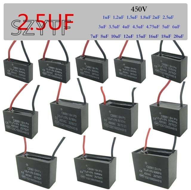 CBB61 fan starten kondensator 1 uf/1,2 uf/1,5 uf/1,8 uf/2,5 uf/3 uf ...
