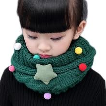 Детский Зимний вязаный шарф-кольцо для девочек, детский теплый плотный шерстяной шарф с милым рисунком для маленьких мальчиков и девочек, шарф с круглым воротником