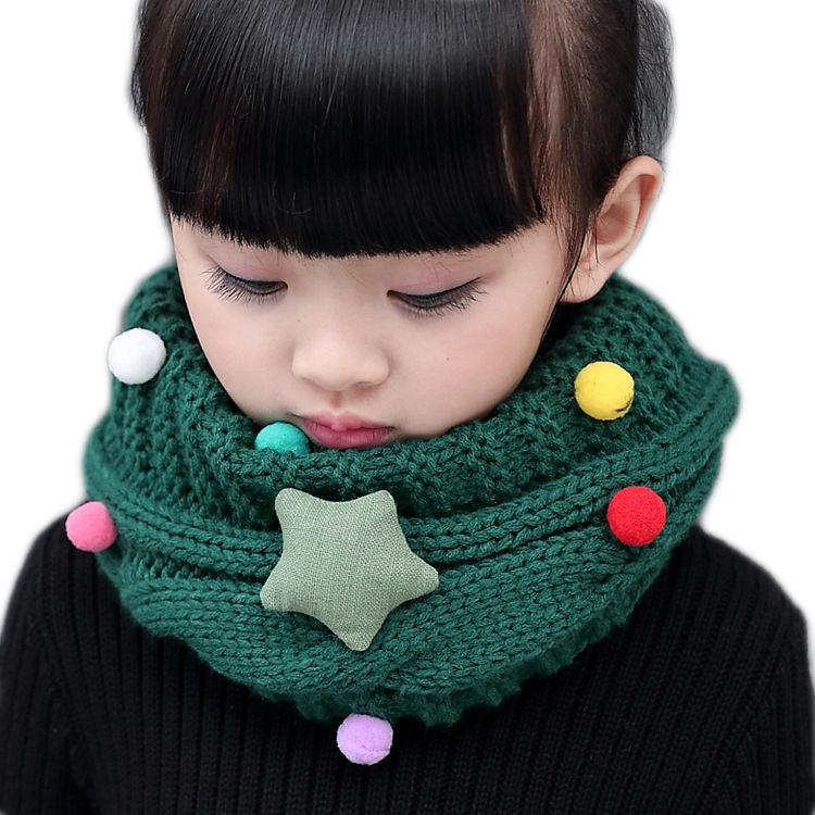 Girl Children Winter Knitted Ring Scarf Kids Boys Baby Girl's Warm Thick Cute Cartoon Wool Scarf Neckerchief  O Scarves Collar