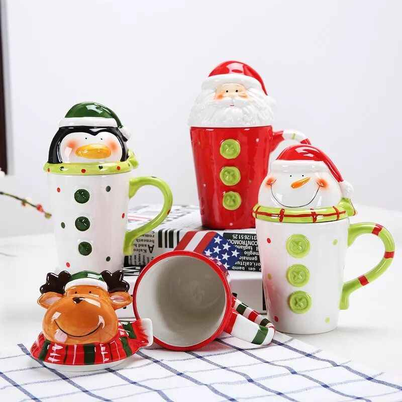 HOMIE 380ML New Christmas Ceramic Coffee Mug 3D Santa Claus Creative Cartoon Milk Breakfast Cup Christmas Gift with Cup cover
