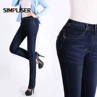 Classic Jeans Women 2018 Winter Straight Mom Jeans Pants Denim Blue Vintage Long Trousers Big Sizes 38 Mid Waist Femme Pantalon