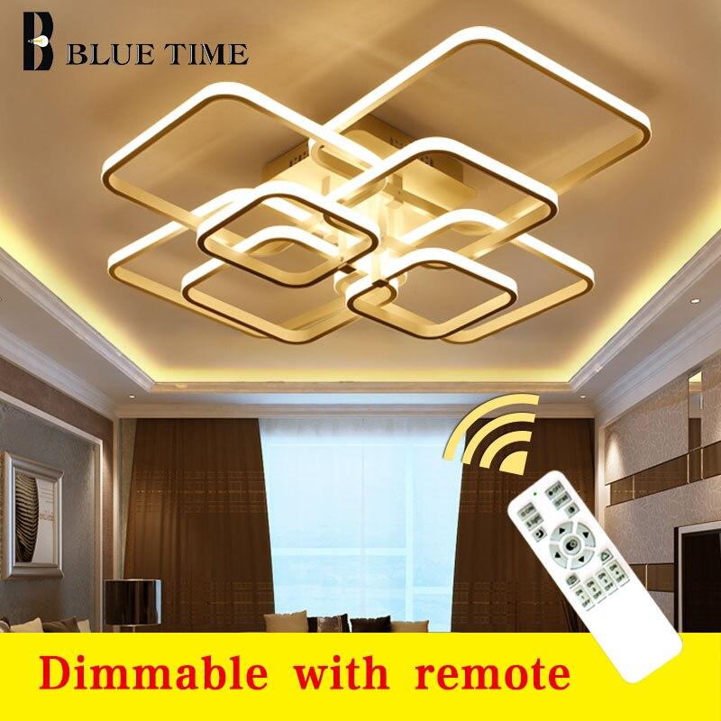Grands anneaux modernes Led lustre Luminaires pour salon chambre salle à manger en aluminium corps lustre éclairage plafonniers