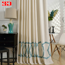 White Cotton Curtains For Living Room Drapes Fabrics Circled Embroidered Blue Window Curtains for Bedroom Japan Ready Door