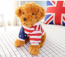 about 30cm squatting ted dog plush toy  dressed flag cloth dog ,birthday present Xmas gift c927