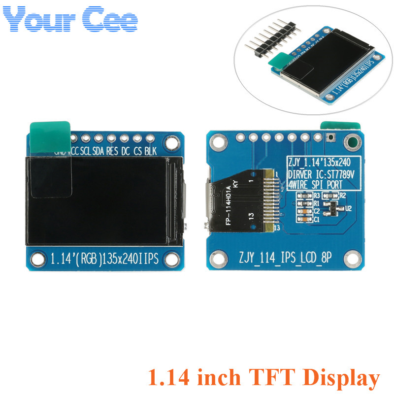 1.14 Inch Display Module IPS LCD TFT LCD Module ST7789 HD Colorful Screen Full View 8pin 135x240 3.3V SPI Interface