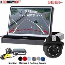 """Koorinwoo سيارة لاسلكية وقوف السيارات أجهزة الاستشعار Parktronic ديناميكية تتحرك خط وقوف السيارات كاميرا الرؤية الخلفية 4.3 """"رصد مرآة الجرس"""