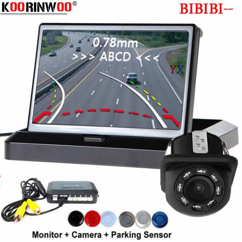 Koorinwoo Wireless Car Parking Sensors Parktronic Dynamic Moving Parking Line Auto Rear View Camera 4.3