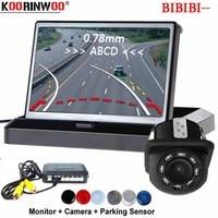 Koorinwoo Wireless Car Parking Sensors Parktronic Dynamic Moving Parking line Auto Rear view Camera 4.3 Monitor Mirror Buzzer