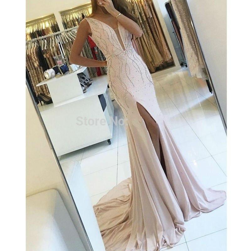 De lujo de baile vestidos largos 2017 de la sirena con rebordear perlas de noche