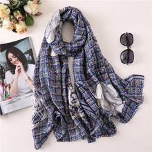 Brand Coloful Camellia Scarf Women Scarves Female Design Spring Summer Satin Silk Soft Long Shawls Wraps Lady 180*90cm