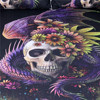 Flowery Skull Cushion Cover Gothic Purple Pillow Case Pillow Cover for Sofa 2