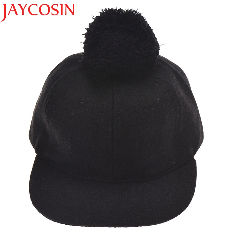 Hot Skullies Beanies Winter Hat pom pom Caps Fur Ball For Children Boys Girls Solid Hemming Warm Spring Autumn Hat WNov14 new star spring cotton baby hat for 6 months 2 years with fluffy raccoon fox fur pom poms touca kids caps for boys and girls