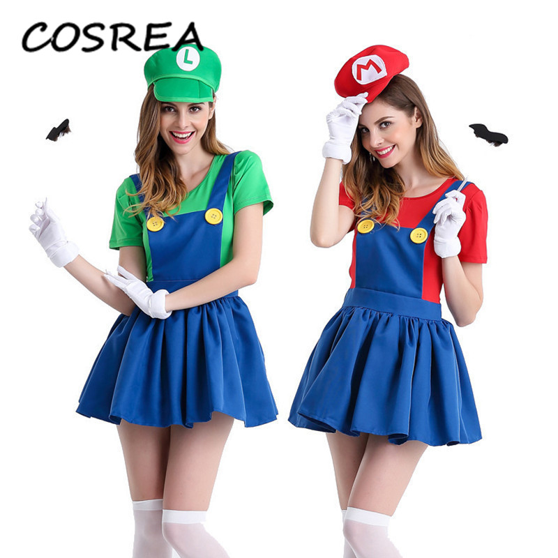 Adults Funy Super Mario Luigi Brothers Plumber Cosplay Costume 4 Color Hat for Women Girls Halloween Fancy Dress Party Costumes