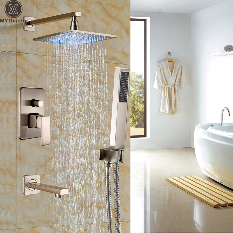 Bathroom LED Light Rainfall Shower Set Handheld Spray Brass Tub Spout Tap Bath Shower Mixer Faucet Wall Mounted Color Changing micoe brass thermostatic water rainfall shower set faucet tub mixer tap handheld shower wall mounted bathroom m a1014 1d