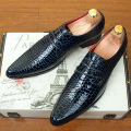 Fashion Pointed Toe Genuine leather Men Oxfords shoes Breathable Casual Business Flats Alligator grain Brogue Shoes 1.9