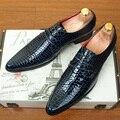 Moda Dedo Del Pie Acentuado de cuero Genuino Hombres de Negocios Oxfords zapatos Ocasionales Respirables Pisos Brogue Zapatos de Cocodrilo grano 1.9