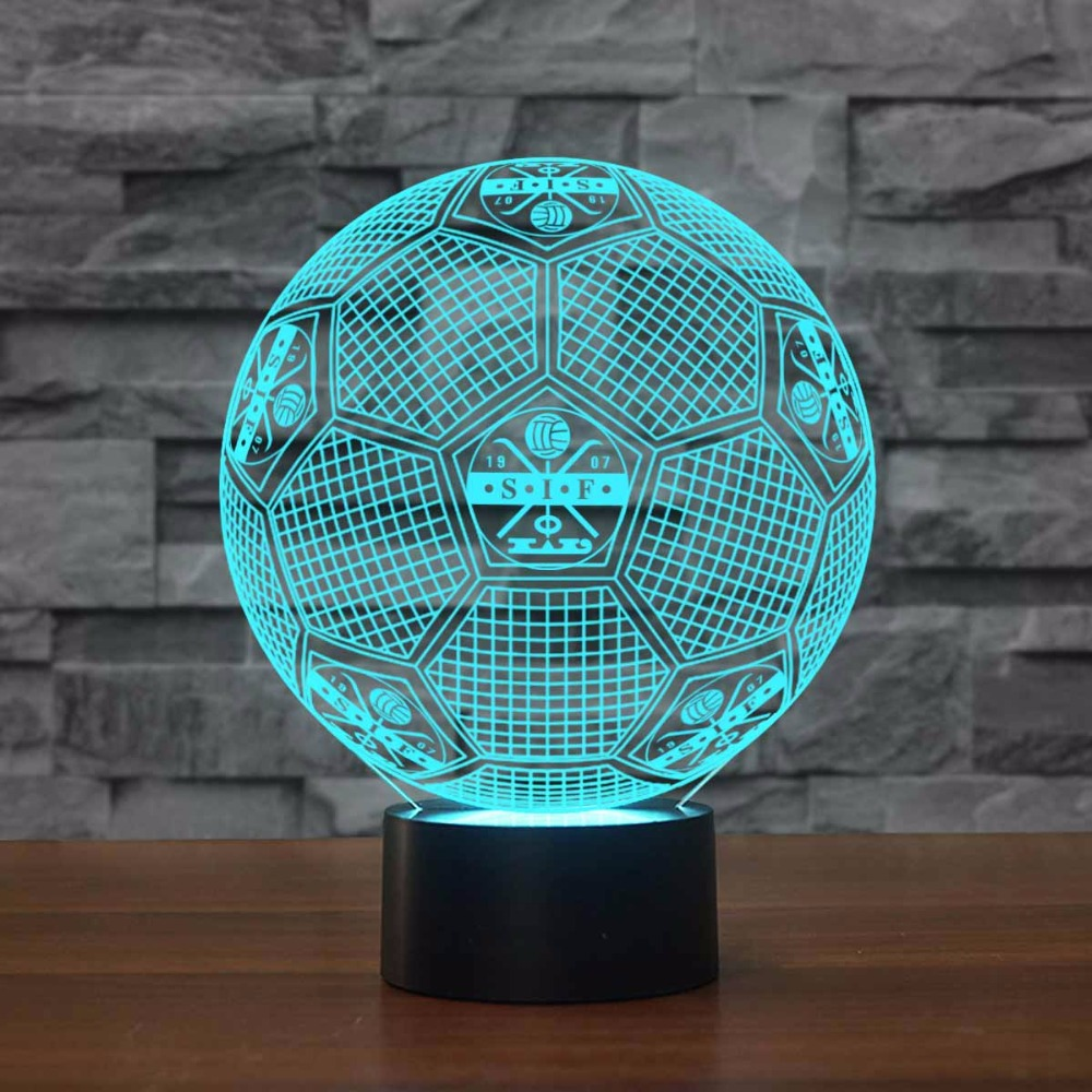 3D Creative Football Shape Desk Lamp Touch Switch Soccer Night Lights USB 7 Colors Room Decor Led Light Fixture Sports Fan Gifts
