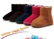 Ребенок снегоступы мальчиков и девочек зимняя обувь дети из натуральной кожи ботинки хлопок потепление водонепроницаемый из воловьей кожи