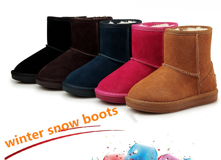 Child snow boots boys and girls winter shoes kids genuine leather boots Cotton warming waterproof cowhide