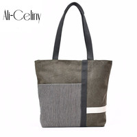 Designer Handbags High Quality Women Cloth Shoulder Bag Striped Casual Canvas Tote Shopping Bag Fabric Bucket