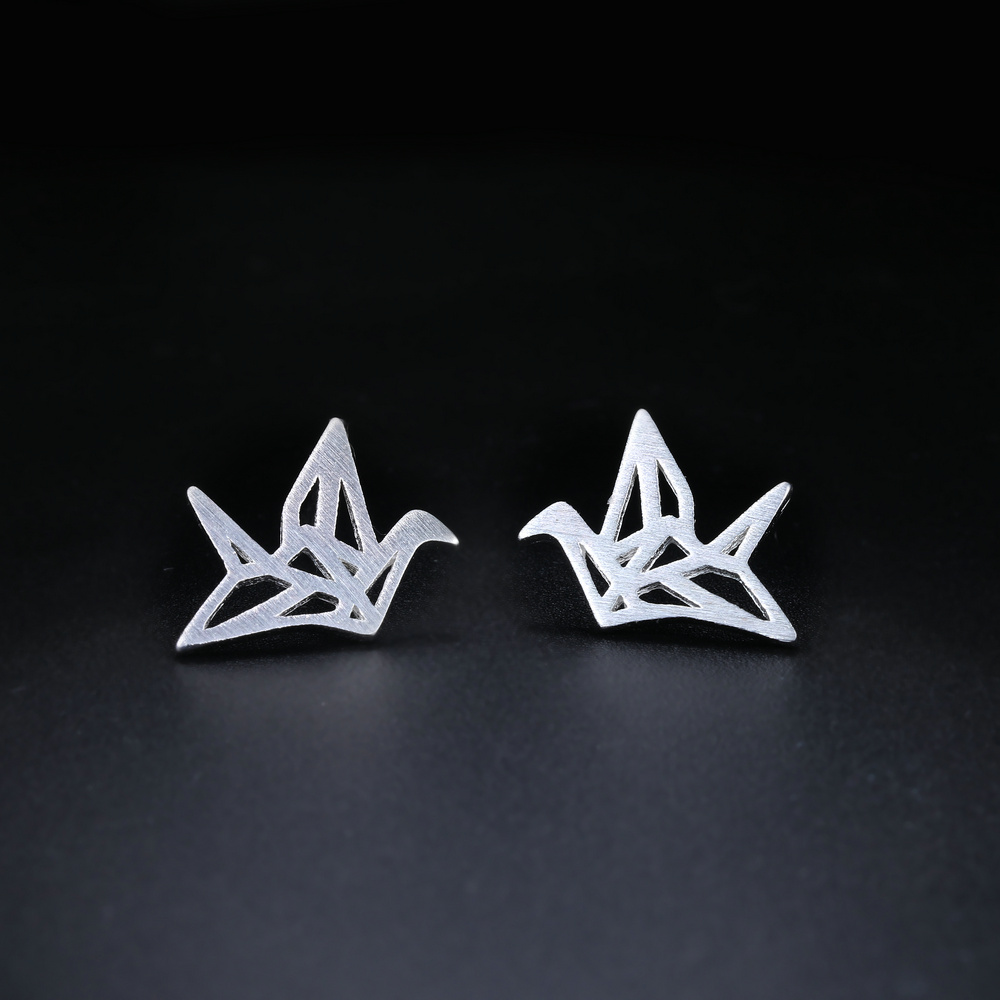ZHOUYANG Brushed Silver Hollow Crane Stud Earrings 925 Sterling Silver Handmade S925 Fashion Jewerly For Women Gift EY165