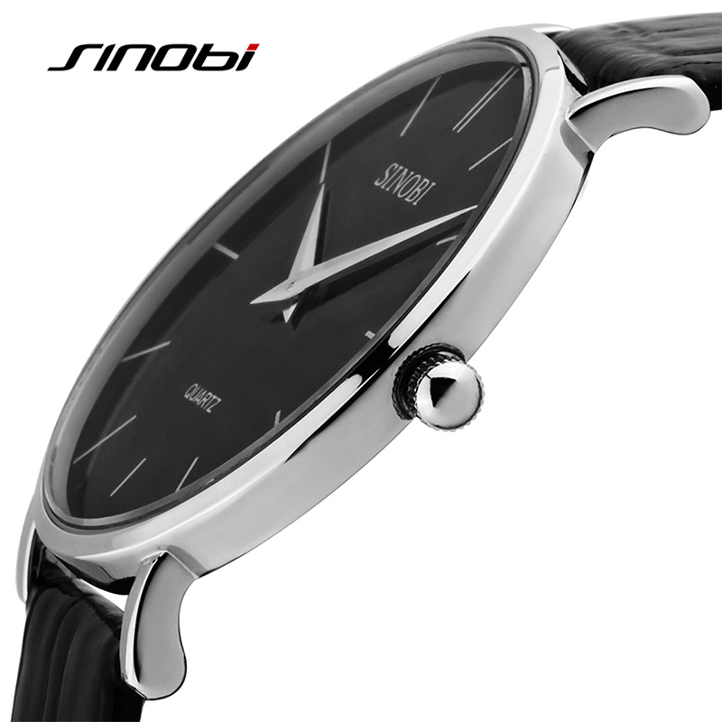 Sinobi Ultra Slim Sport Watch For Women Men Leather Waterproof Wristwatch Women Dress Fashion Japan Quartz Movement Saat Male
