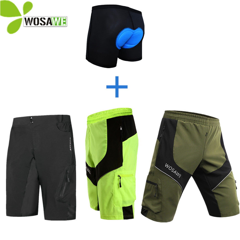 WOSAWE Water Repellent Men's Cycling Shorts Breathable Loose MTB Riding Road Mountain Bike Downhill Outdoor Sports Cycle Shorts