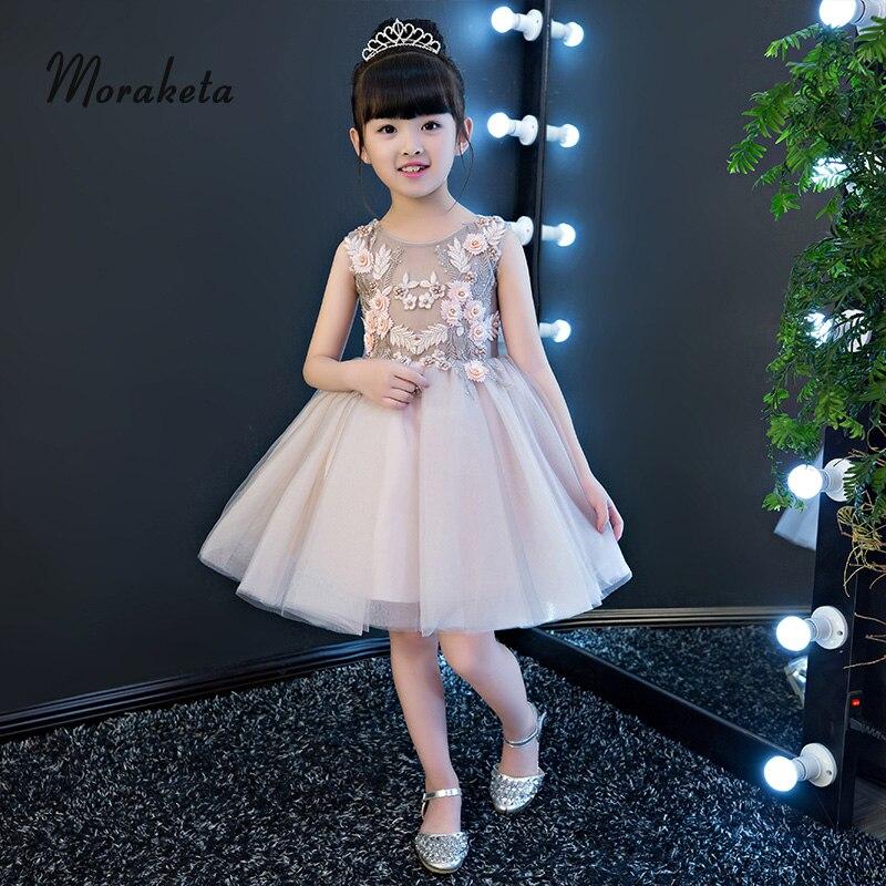 Princess Tulle Knee Length Short Flower Girl Dresses For Wedding 2019 Ball Gown Little Girl Birthday Dress With Bow