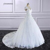 Robe De Mariee Lace A Line Wedding Dress 2018 With Detachable Train Custom Made Bride Dress