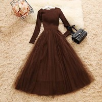 Women Knit Dress Autumn Winter O Neck Long Sleeve Knitted Patchwork Mesh Dresses Female Elegant Fluffy Dress Vestidos