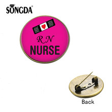 SONGDA Hot Sale RN Nurse Brooches for Women Glass Picture Cabochon Suit Lapel Pin Button Badges Medical Students Graduation Gift(China)