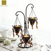 Romantic Iron Votice Candle Holders Glass Pillar Candlestick Wedding Candelabra Centerpieces Lantern Portavela Vintage LKL036