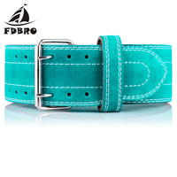 FDBRO High Quality Cow Leather Weightlifting Belt Powerlifting Gym Exercise Back Support Squat Power Cleans Heavy Duty Men Women